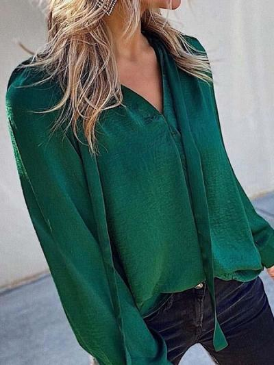 Fashionable v-neck lantern sleeves shirts blouses