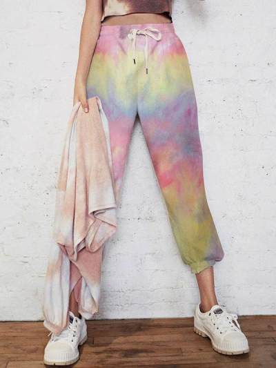 Loose tie-dyed casual long pants