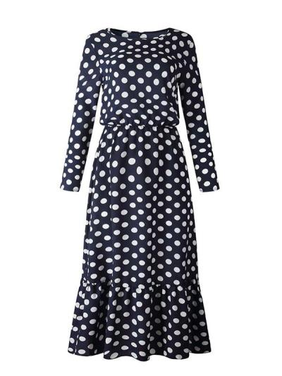 Fashion polka dot printed long sleeve maxi dresses