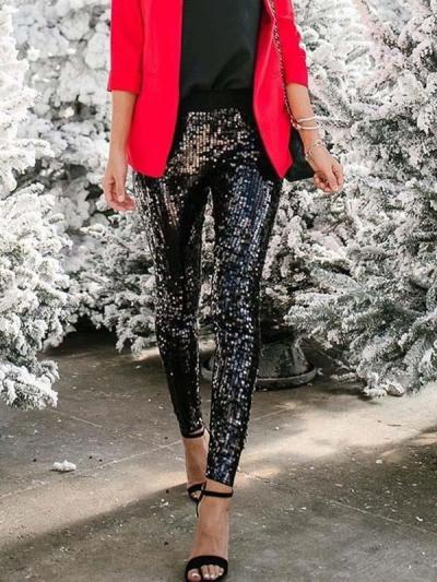 Sequined slacks for beaded stretch pencil trousers long pants