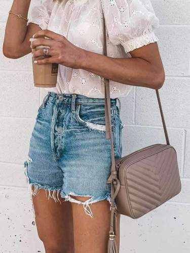 Women stylish denim blue shorts short pants