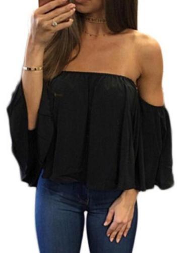 Off Shoulder Woman Summer Chiffon Short Sleeve Fashion T-shirt