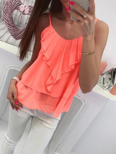 Women Colorful Summer Chiffon Plain Vests