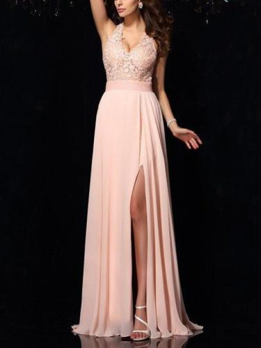 Lace hang band collar chiffon elegant long party  evening dresses