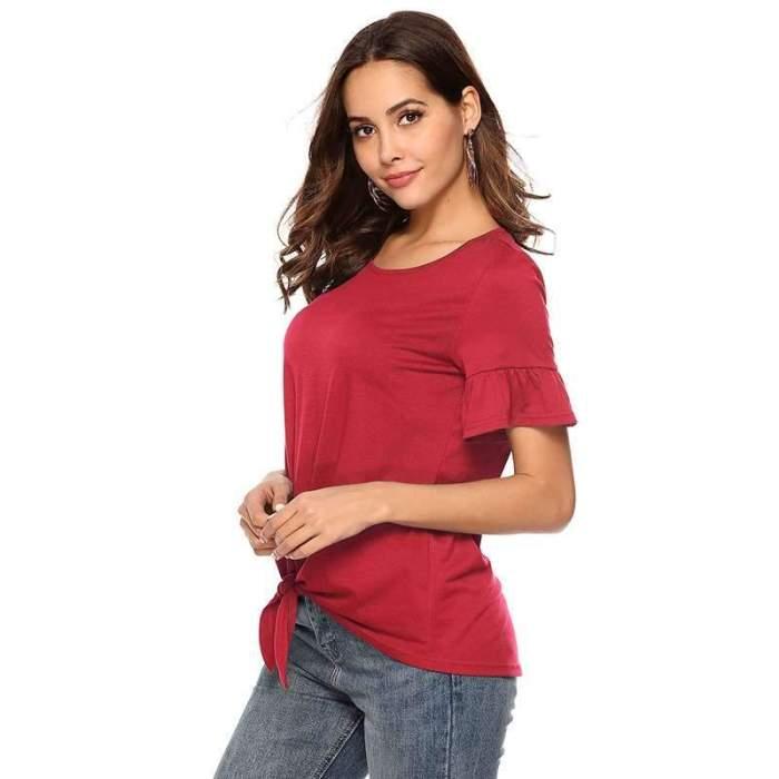 Fashion Pure Ruffle sleeve Round neck T-Shirts
