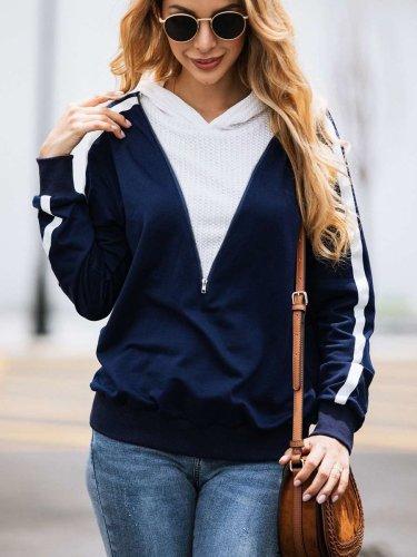 Fashion Gored Zipper Long sleeve Hoodies Sweatshirts