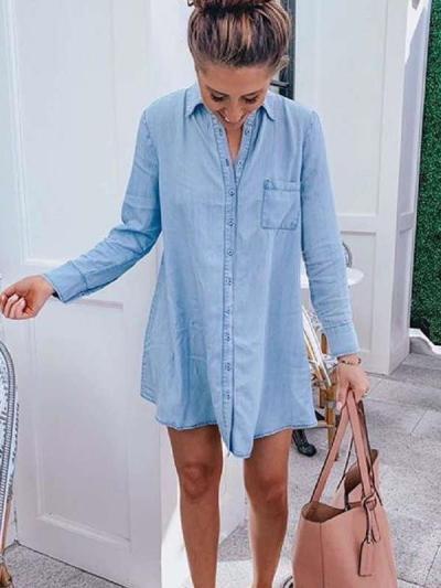 Fashion Fastener Long sleeve Blouses