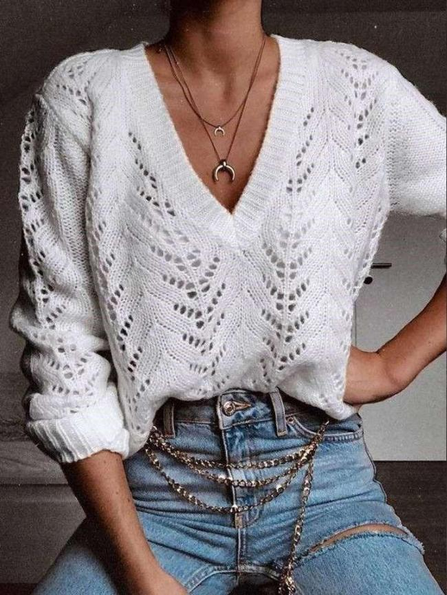 Sexy Casual Hollow out Long sleeve V neck Knit Sweaters