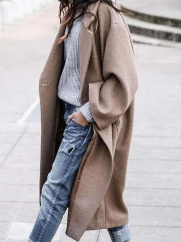 Fashion Pure Long sleeve Lapel Coats