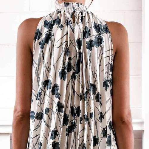 Fashion Casual Print Sleeveless Stand collar T-Shirts
