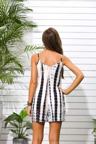 Fashion Casual Print V neck Vest Jumpsuits