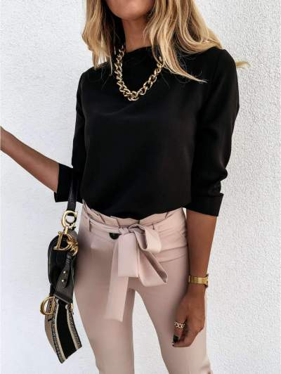 Fashion Pure Stand collar Long sleeve T-Shirts