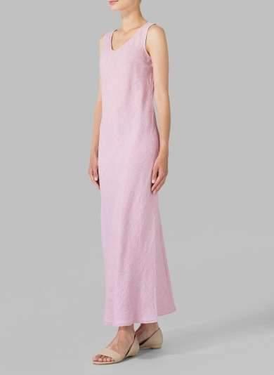 Fashion Pure V neck Sleeveless Maxi Dresses