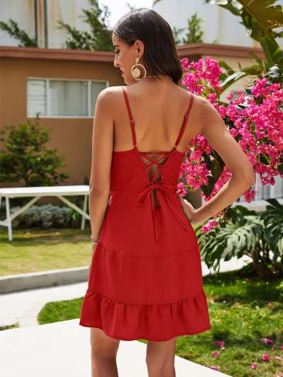 Casual Pure V neck Falbala Sleeveless Vest Shift Dresses