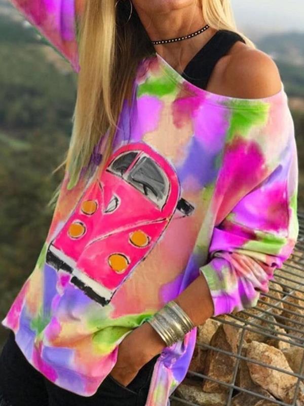 One off shoulder women car printed sweatshirts
