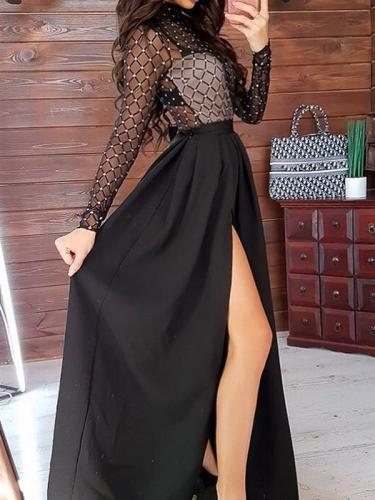 Women black round neck long chic maxi dresses