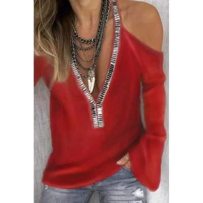 Pure Off shoulder V neck Paillette Long sleeve T-Shirts