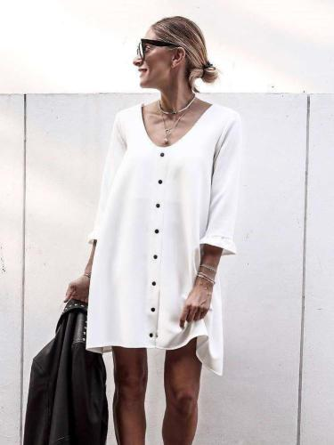 Fashion Loose  Fastener Round neck  Long sleeve Shift Dresses