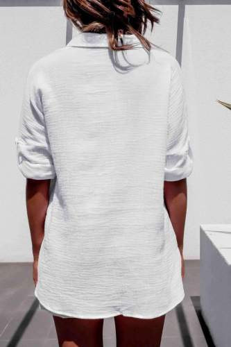 Fashion Casual Pure Lapel Pocket Long sleeve Blouses