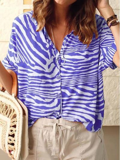 Zebra Stripe Printed Turn Down Collar Short Sleeve Blouses