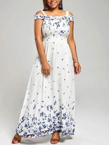 Bohemia Off Shoulder Woman Printed Maxi Dresses