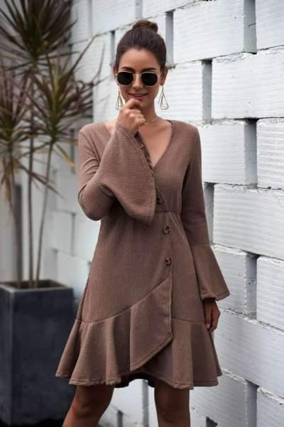 Fashion Knit Falbala V neck Mandarin sleeve Skater Dresses