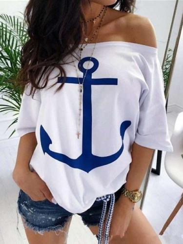 Loose Off shoulder Half sleeve T-Shirts
