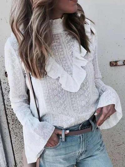 Fashion Sexy High collar Long sleeve  Falbala Blouses