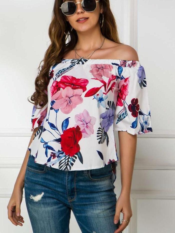 Fashion Print Onr shoulder Short sleve T-Shirts