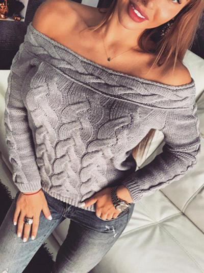 Chic off shoulder long sleeve sweaters