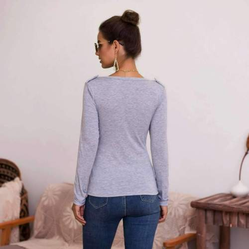 Sexy Pure V neck Fastener Long sleeve T-Shirts