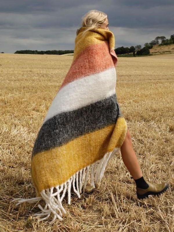 Fashion Stripe Capa Purl Cloak
