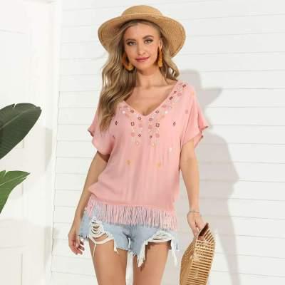 Fashion Casual Short sleeve V neck Tassels T-Shirts