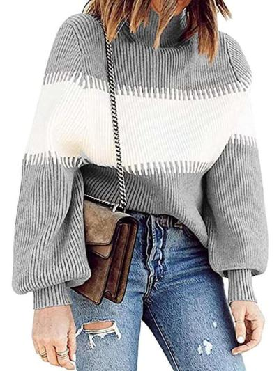 Fashion Stripe Knit High collar Long sleeve Sweaters