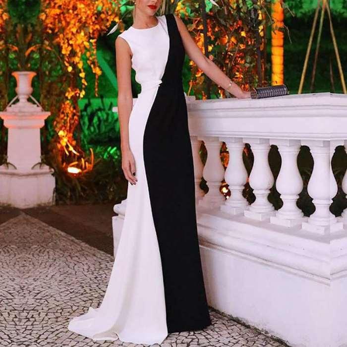 Fashion Sexy Round neck Sleeveless Gored Evening Dresses