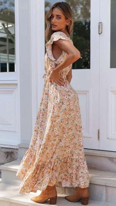 Pring V neck Fastener Lacing Maxi Dresses