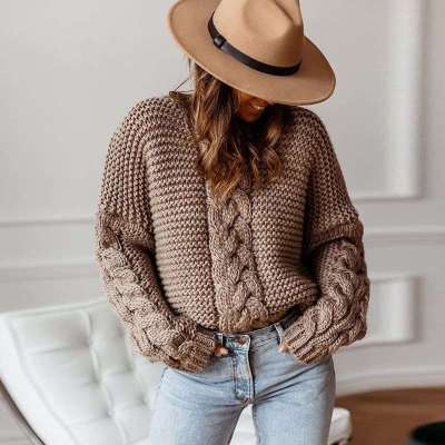 Fashion Casual Pure Knit V neck Long sleeve Sweaters