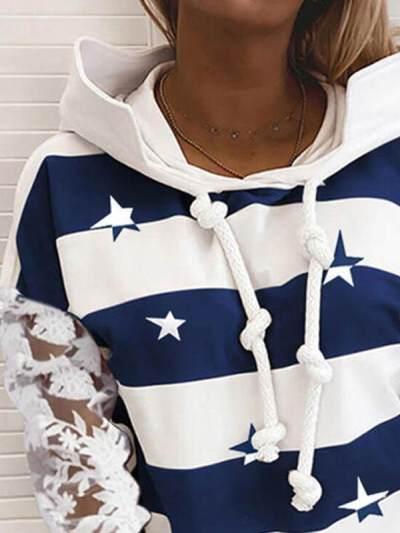 Chic women Lace long sleeve loose hoodied sweatshirts
