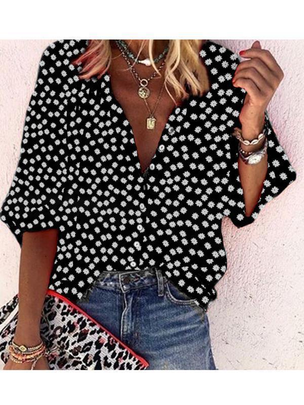 Women v neck button printed wave pot blouses
