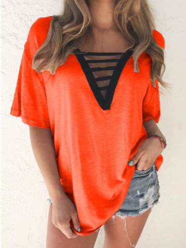 Women cotton blend special neck short sleeve T-shirts