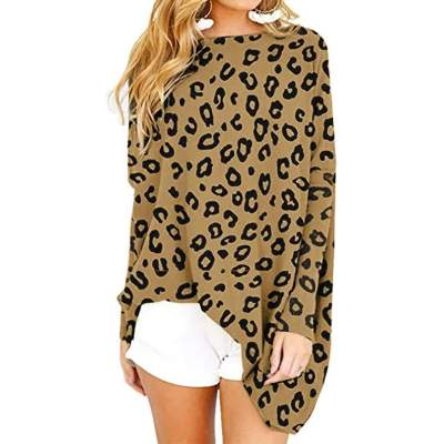 Leopard print Long sleeve Round neck Knit Shift Dresses