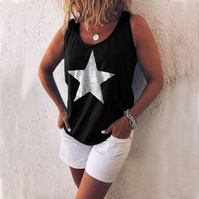Casual Loose Star print Round neck Vests
