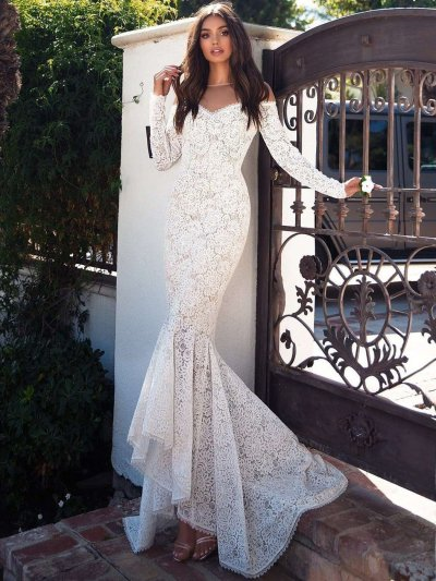 Sexy Off shoulder Long sleeve Lace Fishtail Evening Dresses
