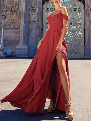Stylish Women Long Plain Sexy Strapless Evening Dresses