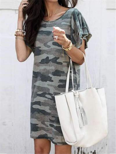 Fashion Camouflage Print Round neck Shift Dresses