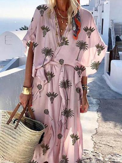 Leave printed women short sleeve maxi dresses