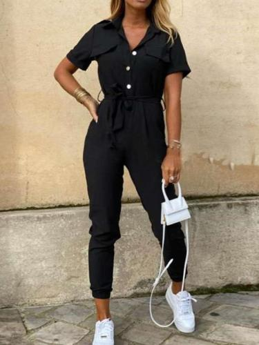 Fashion Casual Lapel Short sleeve Jumpsuits