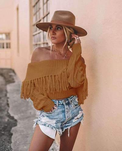 Fashion Off shoulder Knit Purl Sweaters