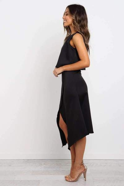 Casual Pure Round neck Sleeveless Two-piece suit Skater Dresses