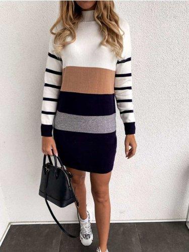 Fashion Stripe High collar Long sleeve Sweater Shift Dresses